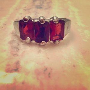 Silver January birthstone ring
